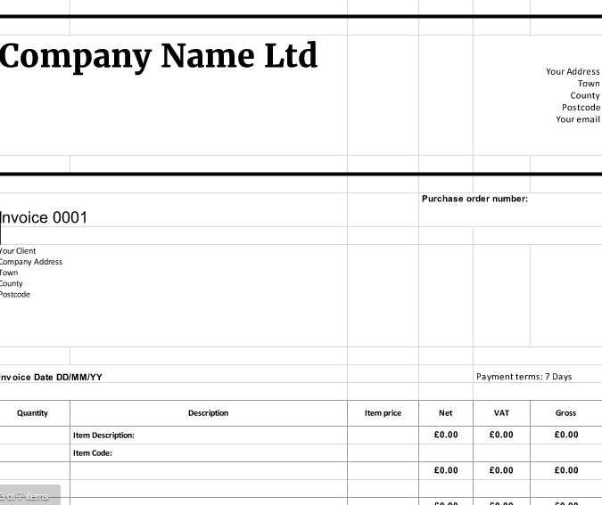 vat invoice template goods  Free Downloadable Invoice Templates | cloudaccountant.co.uk
